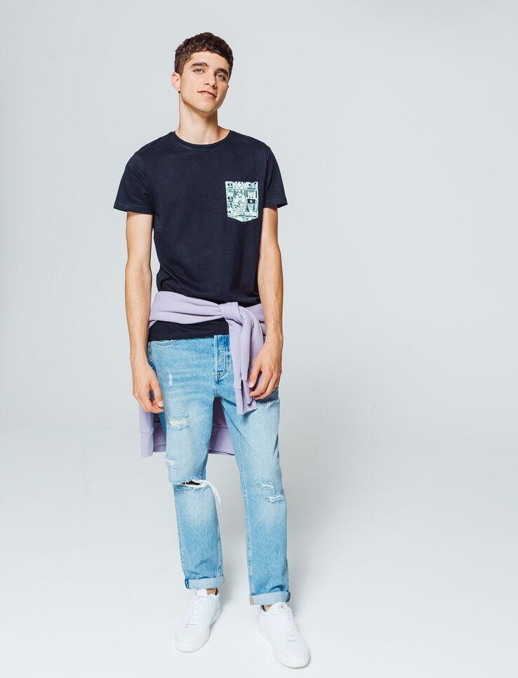 T-shirt uni poche contrastante imprimée