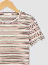 T-shirt épais en coton bio à rayures multicolores