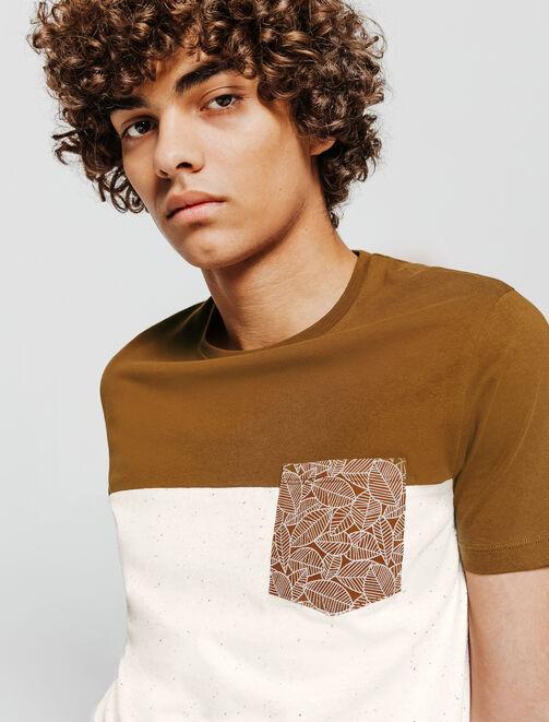T-shirt colorblock poche imprimée homme