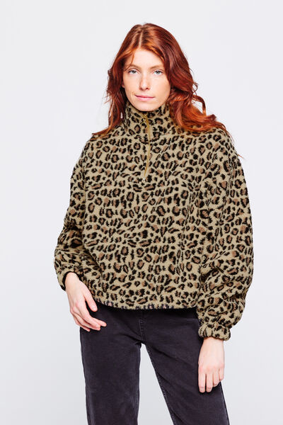 Sweat sherpa leopard
