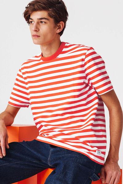 T-shirt oversized bio à rayures colorées