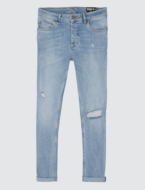 Jean skinny destroy clair homme