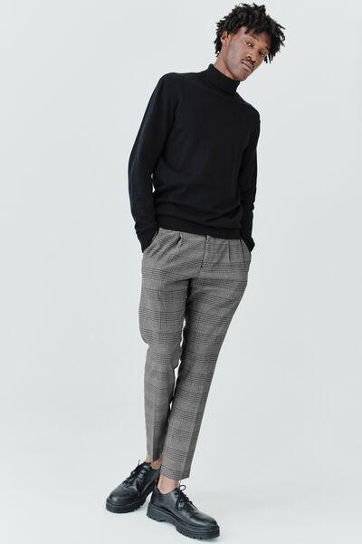 Pantalon à carreaux taille élastiquée