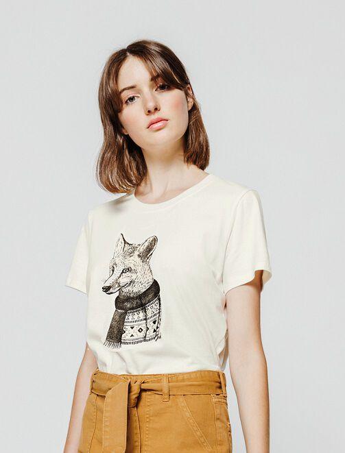 T-shirt fantaisie renard femme