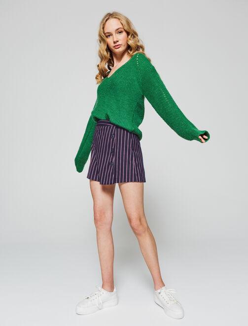 Short rayé femme