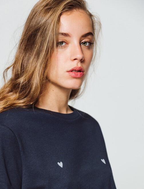 T-shirt cœur poitrine femme