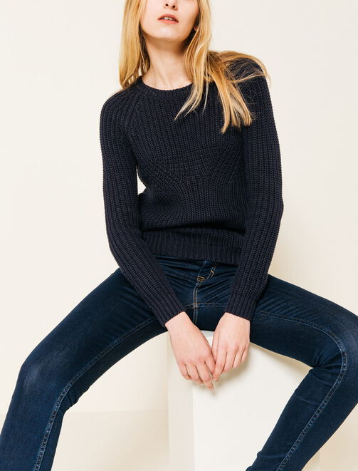 Pull col rond manches longues tricoté femme