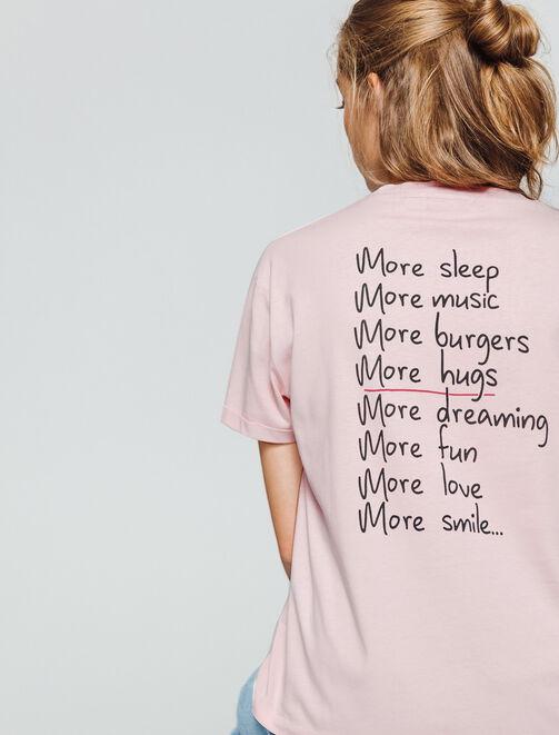T-shirt avec message devant et dos  femme
