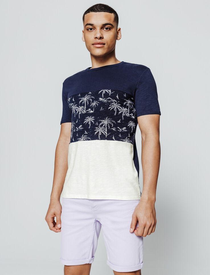 T-shirt colorblock ilmprimé palmiers