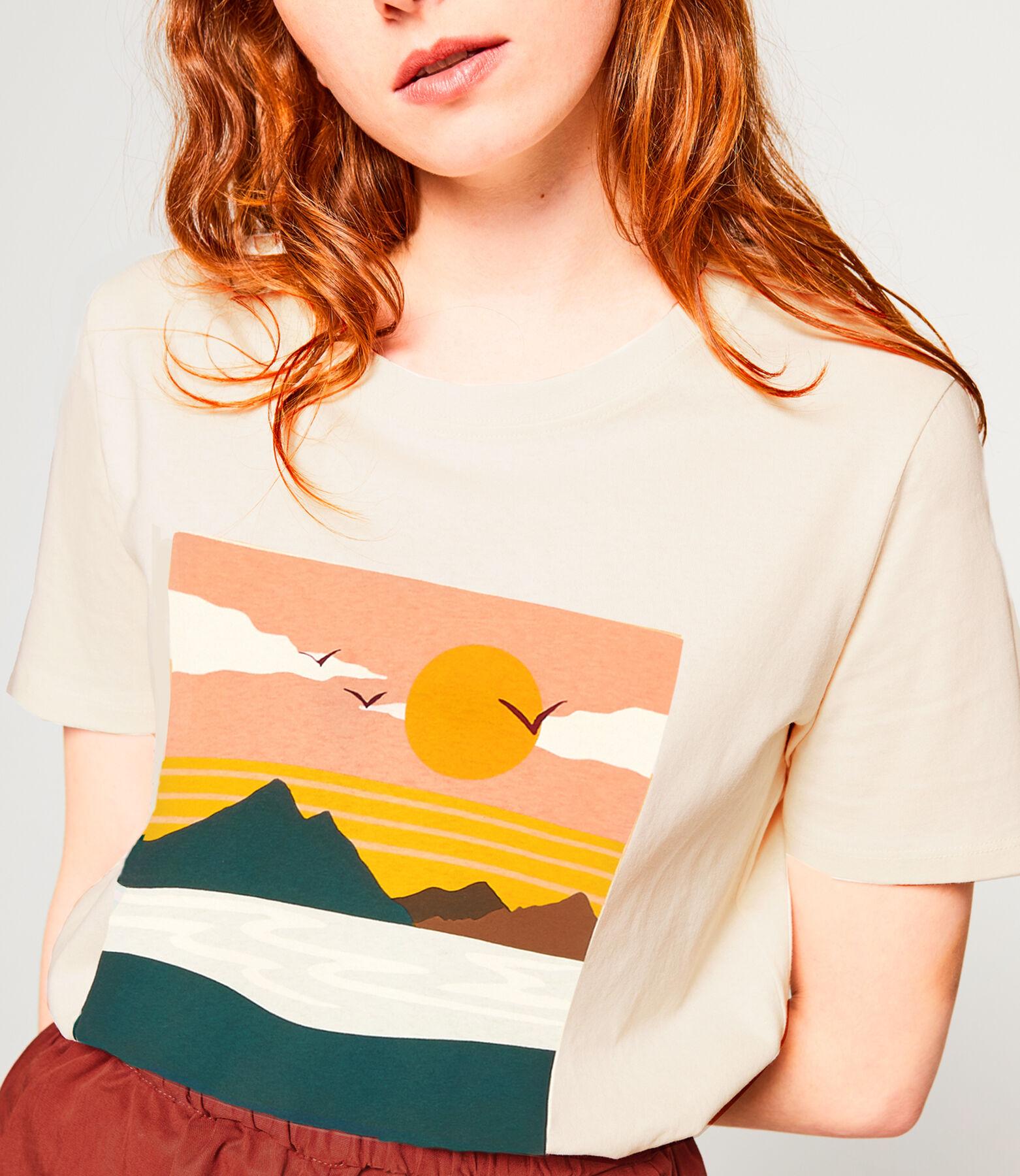 T-shirt imprimé paysage en coton issu de l'agricul