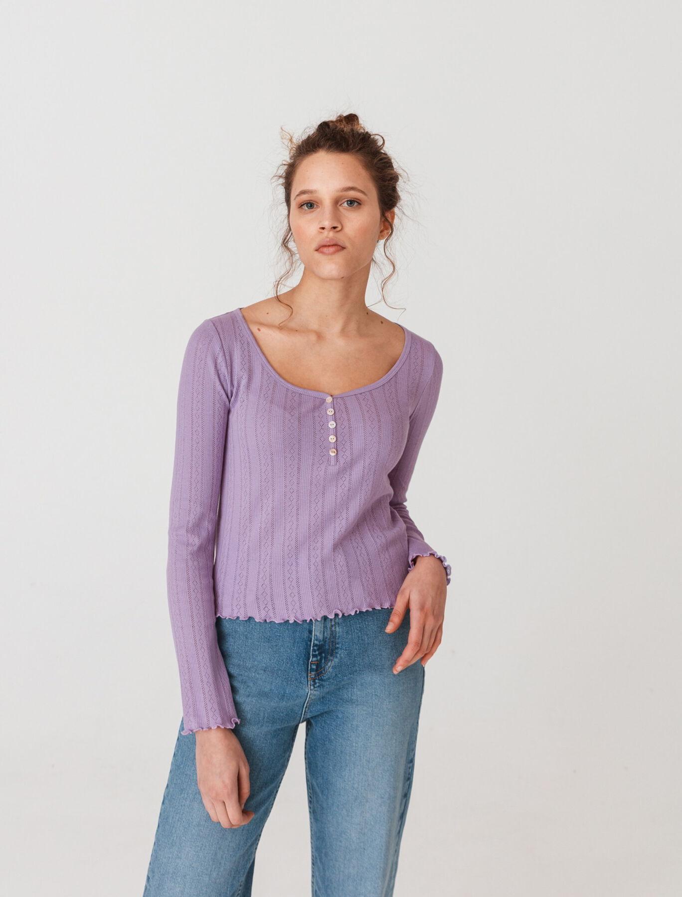 T-shirt col V pointelle manches longues en coton b