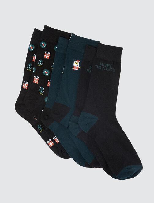Lot de chaussettes Noël homme