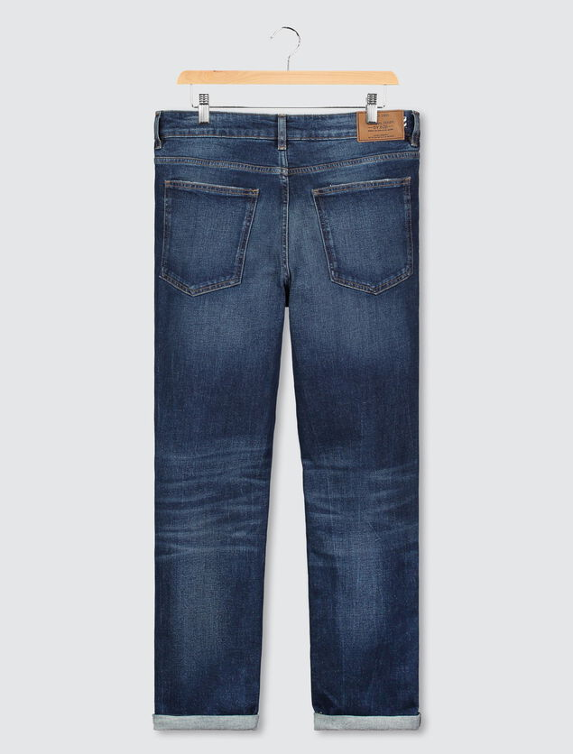 Jean straight cropped tapred brut used