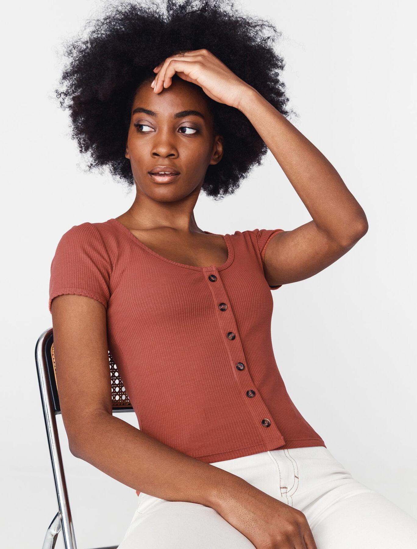 T-shirt côtelé en coton bio