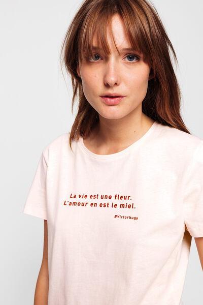 T-shirt en coton citation auteur