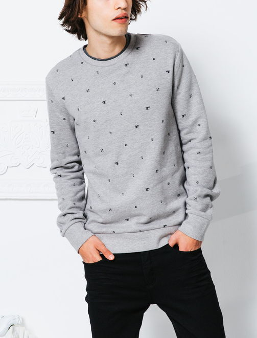 Sweat col rond micro motifs rock homme