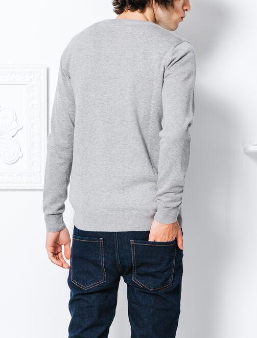 Pull col rond imprimé hashtag laine homme