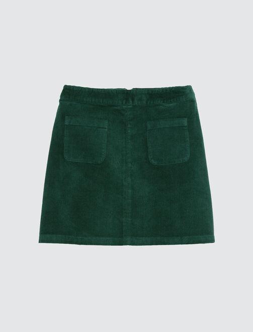 jupe velours côtelé deux poches devant femme