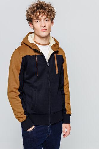 Sweat à capuche zippé doublé sherpa