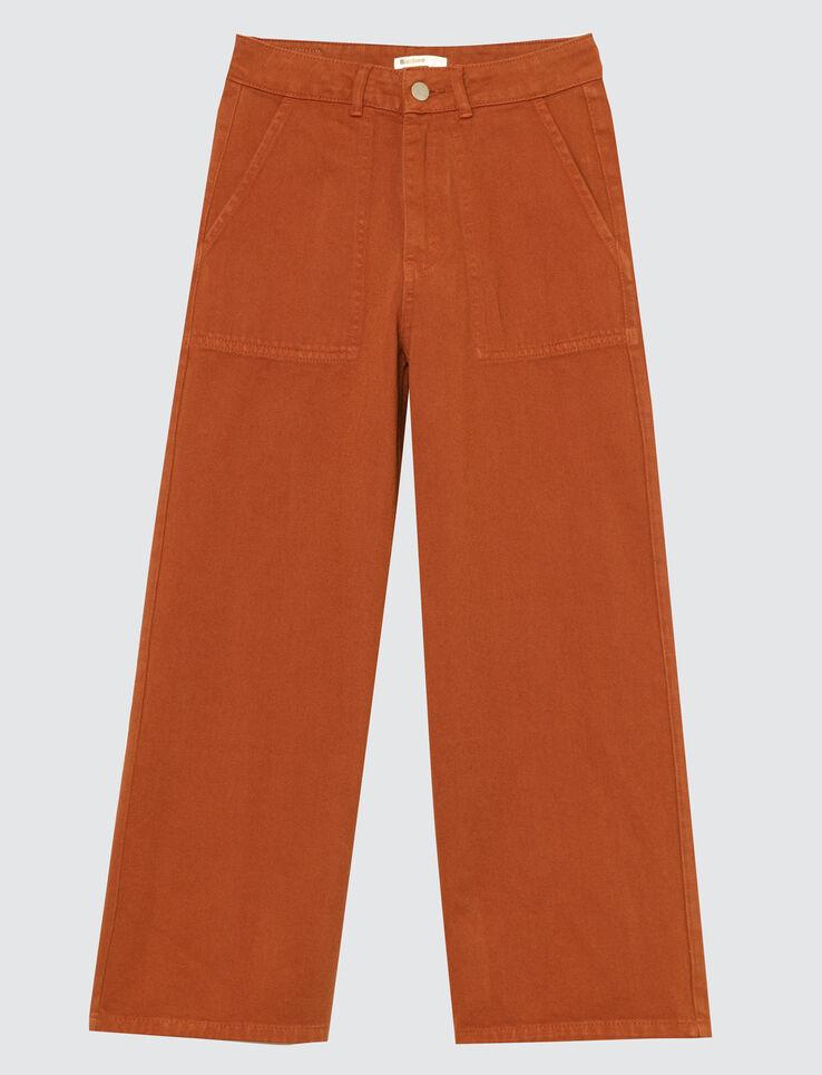 Jean denim couleur jambes larges