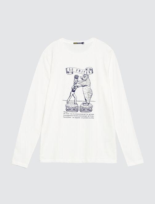 T-shirt manches longues print devant homme