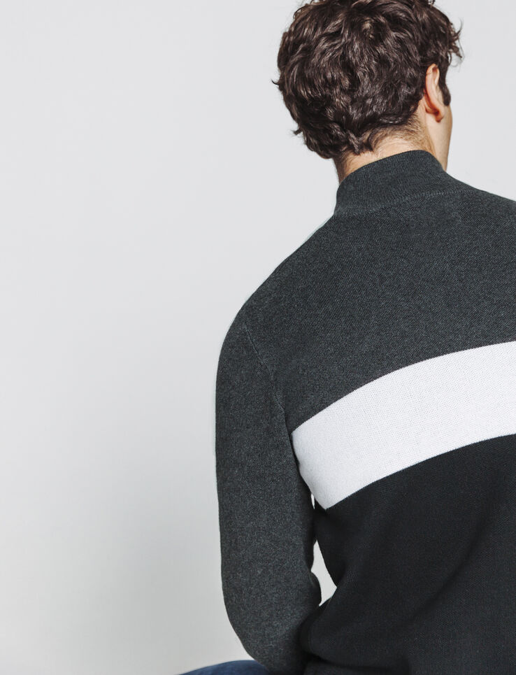 Pull zippé colorblock