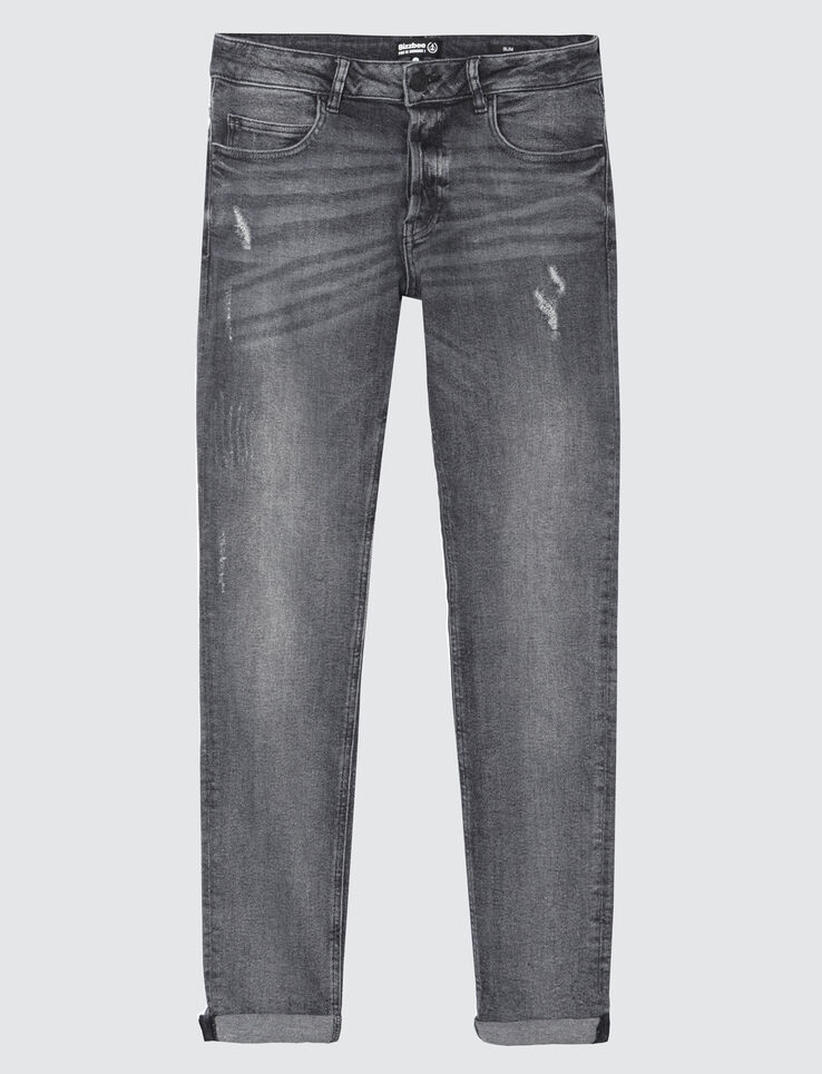 Jean slim gris destroy