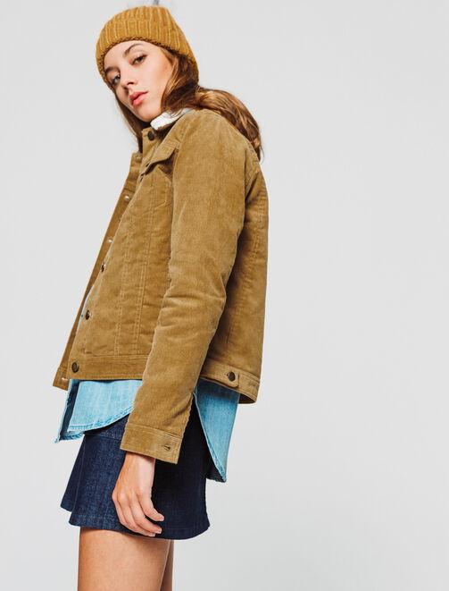 veste velours boutonnée col sherpa femme