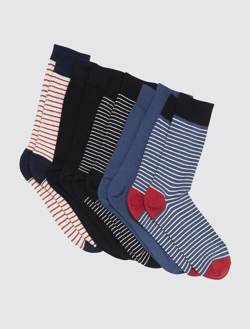 Lot*5 Chaussettes Hautes Rayures homme