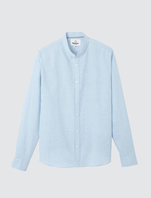 Chemise sans col unie en coton lin homme