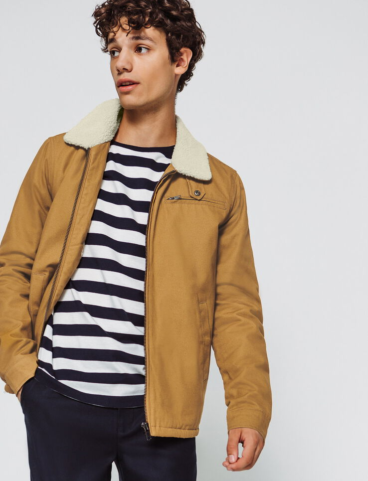 Pilot jacket en canvas camel