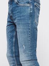 Jean skinny destroy stone clair en coton recyclé