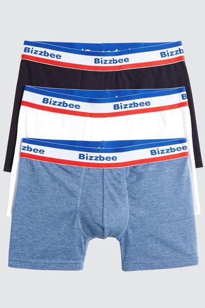 Boxers Unis Ceinture Bleu Blanc Rouge Lot*3