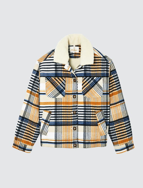 Veste carreaux flanelle col sherpa femme