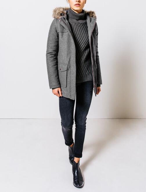 Manteau lainage forme parka femme