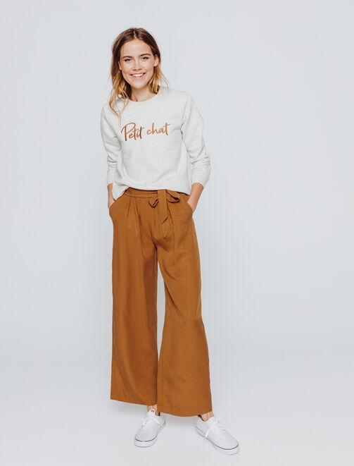 Pantalon large cropped uni taille élastique femme