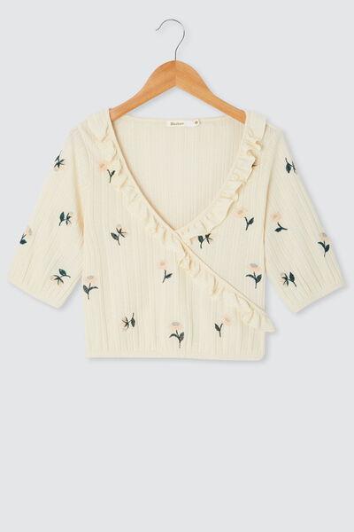T-shirt cache coeur brodé fleuri