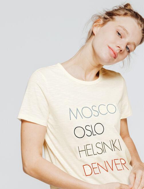 T-shirt brodé villes femme