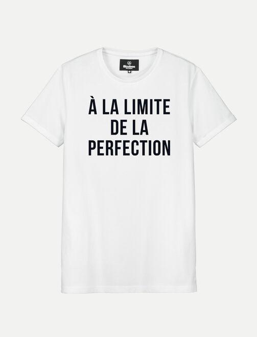 """T-shirt blanc manches courtes """"A la limite de la p homme"""