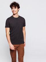 T-shirt uni avec poche en coton BIO