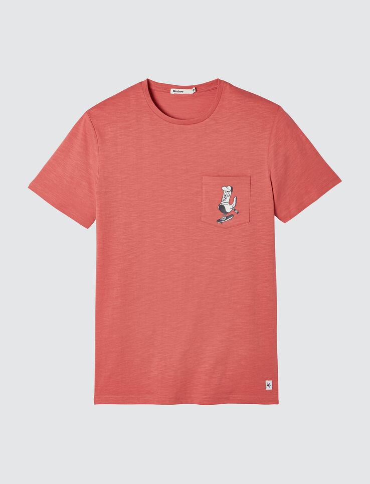 T-shirt uni poche imprimée