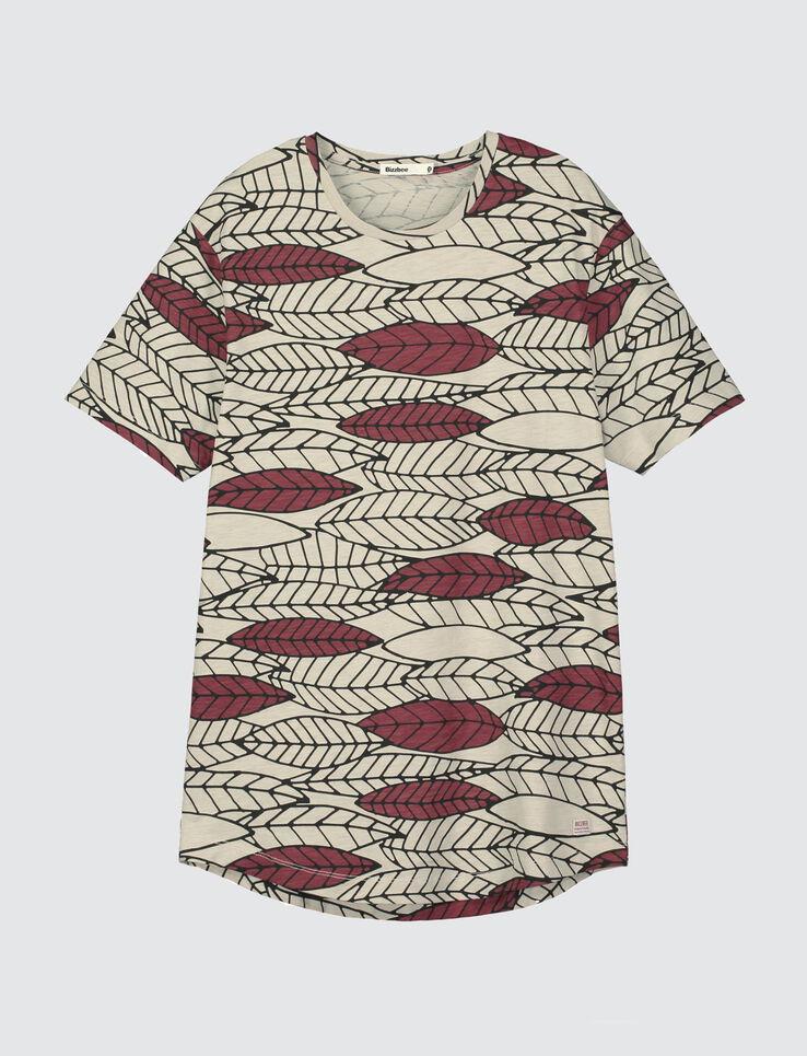 T-shirt bas arrondi motif feuilles graphiques