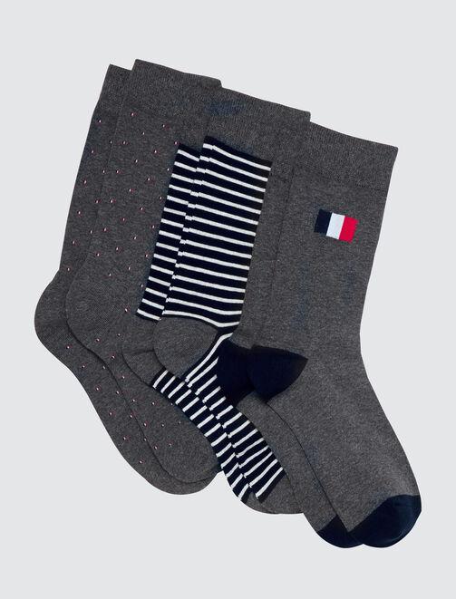 Lot de chaussettes drapeau bleu blanc rouge homme