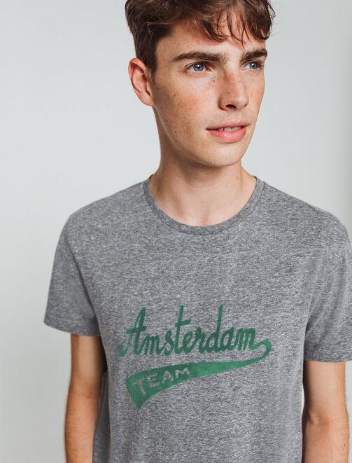 "T-shirt uni flocage ""Amsterdam"" homme"