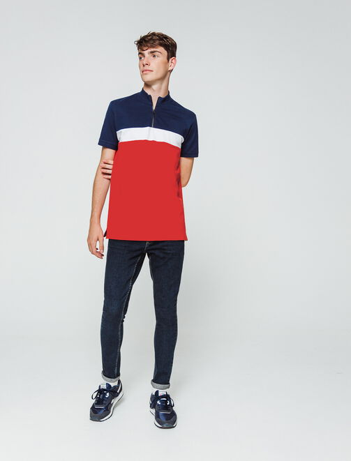 Polo zippé colorblock  homme
