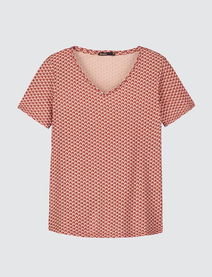 T-shirt col V à motifs graphiques