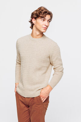 Pull col rond tricotage chevrons