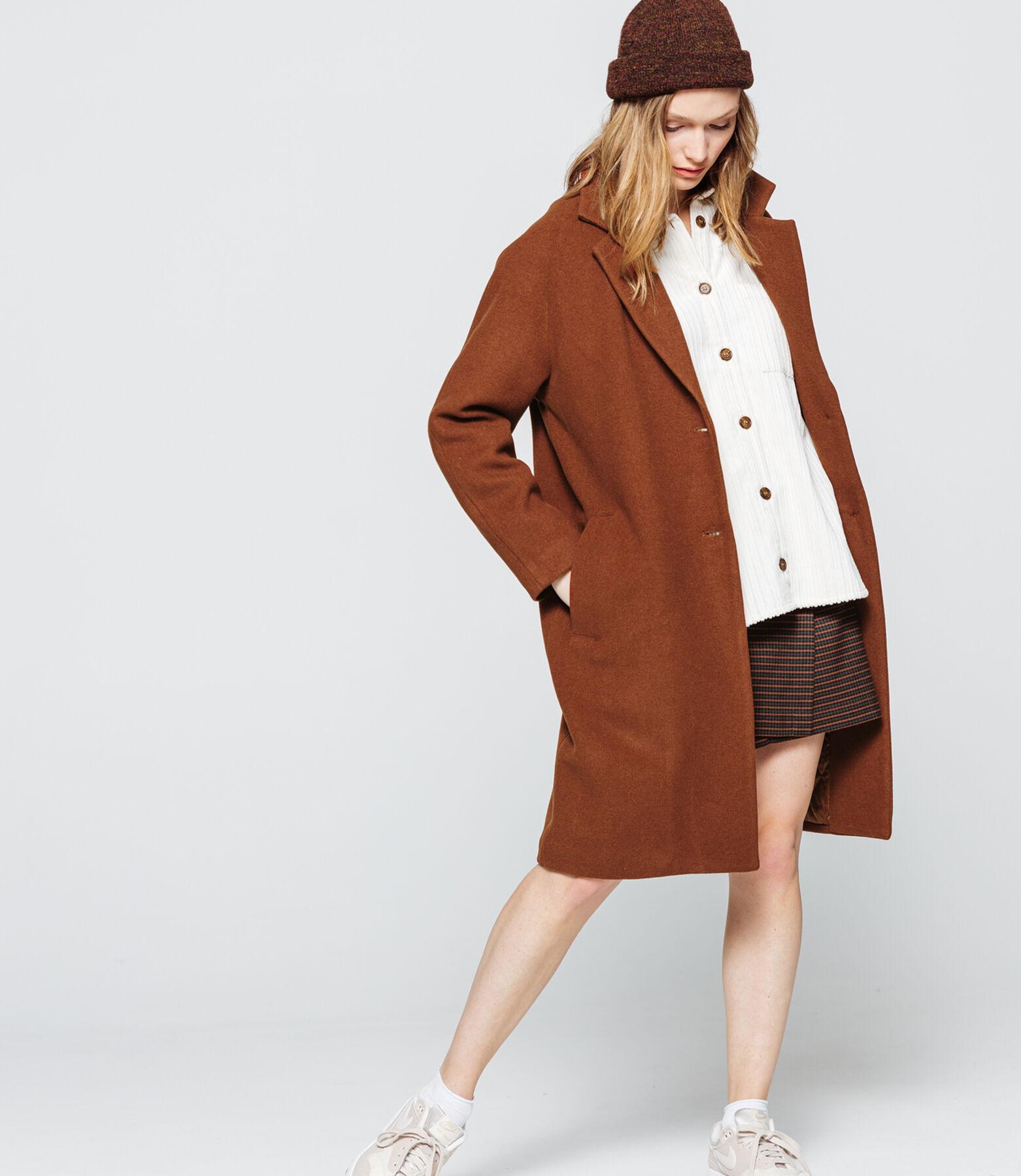 Manteau Mi Long Uni en Laine