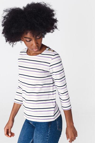 T-shirt rayé manches longues en coton bio