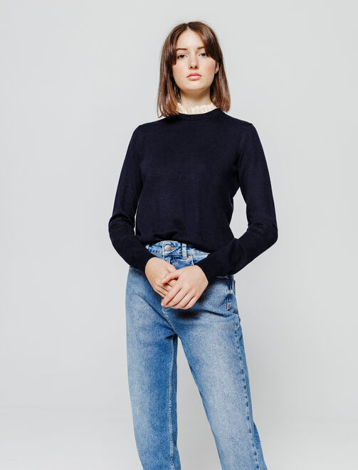 Pull col froufrou femme